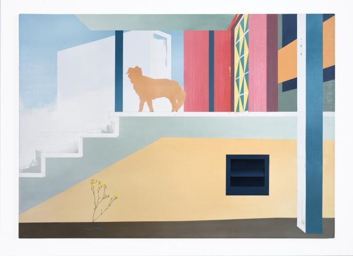 Fred auf der Treppe, 2020, oil on canvas, 100 x 150 cm